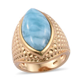 Larimar (Mrq 20x10 mm) Ring in 14K Gold Overlay Sterling Silver 8.000 Ct, Silver wt 8.19 Gms