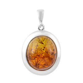Baltic Amber Solitaire Pendant in Sterling Silver 9.50 Grams