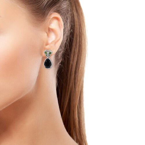 Boi Ploi Black Spinel (Pear 14x10 mm), Russian Diopside and Natural Cambodian Zircon Butterfly Drop Earrings (with Push Back) in Platinum Overlay Sterling Silver 8.00 Ct, Silver wt 5.00 Gms