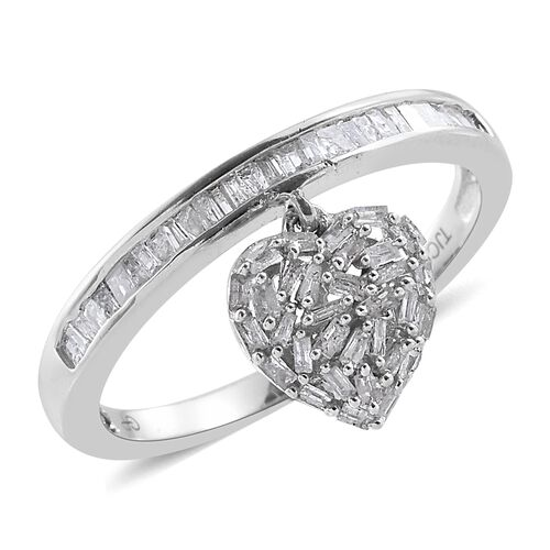 GP 0.53 Ct Diamond and Kanchanaburi Blue Sapphire Heart Charm Ring in Sterling Silver