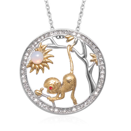 Opalite and Red, White Austrian Crystal Monkey Pendant with Chain (Size 24) in Gold Tone and Plain S