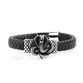 Stainless Steel and Genuine Leather Fancy Snake Bracelet (Size 8.5)