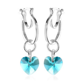 J Francis Crystal from Swarovski Blue Zircon Crystal Heart Drop Hoop Earrings (with Clasp) in Sterli