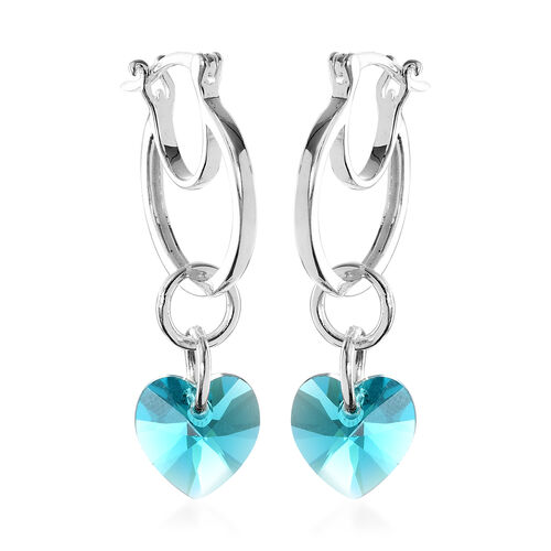 J Francis Crystal from Swarovski Blue Zircon Crystal Heart Drop Hoop Earrings (with Clasp) in Sterli
