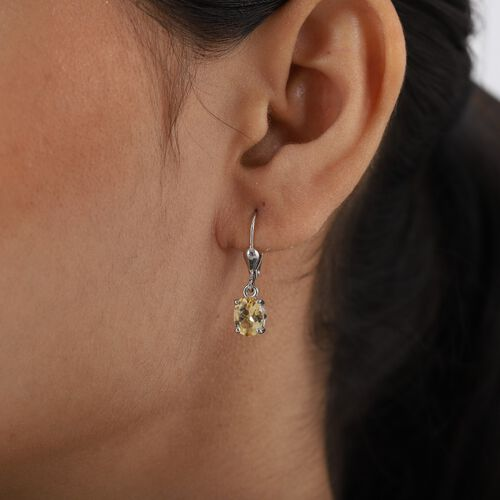 AA Citrine (Ovl) Lever Back Earrings in Platinum Overlay Sterling Silver 2.250 Ct.