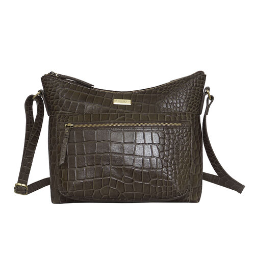 Assots London OLGA Croc Embossed Genuine Leather Crossbody Bag with Zipper Closure and Adjustable St