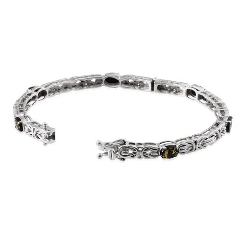 Goldenite (Ovl) Bangle in Platinum Overlay Sterling Silver (Size 7.5) 3.750 Ct. Silver wt 18.14 Gms.