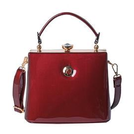 BOUTIQUE COLLECTION Burgundy Colour Tote Bag with Detachable and Adjustable Shoulder Strap (Size 22x