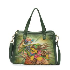 Sukriti - 100% Genuine Leather Green and Multi Colour Radha Krishna Hand Painted Shoulder Bag with D