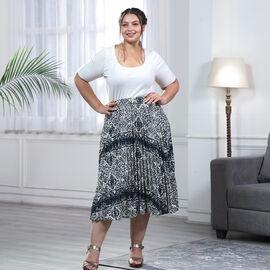 Cream Pleated Midi Skirt with Elasticated Waist