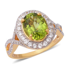 Hebei Peridot (Rnd), Natural Cambodian White Zircon Ring (Size O) in Yellow Gold Overlay Sterling Silver 5.59