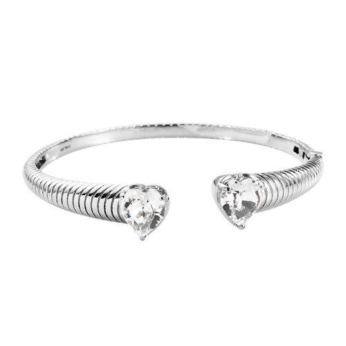 J Francis Crystal from Swarovski White Colour Crystal Heart Bangle(Size 7.5) in Stainless Steel