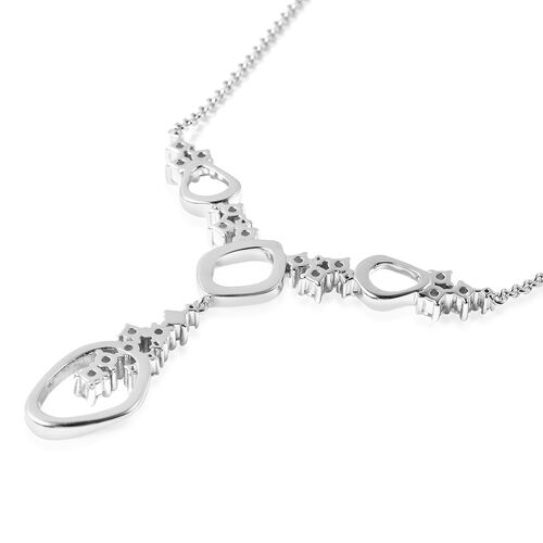 LucyQ Fluid Collection - White Moissanite Necklace (Size 16 with 4 inch Extender) in Rhodium Overlay Sterling Silver