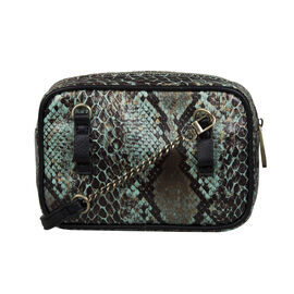 Bulaggi Collection Protea Snake Skin Print Crossbody Bag - Emerald Green