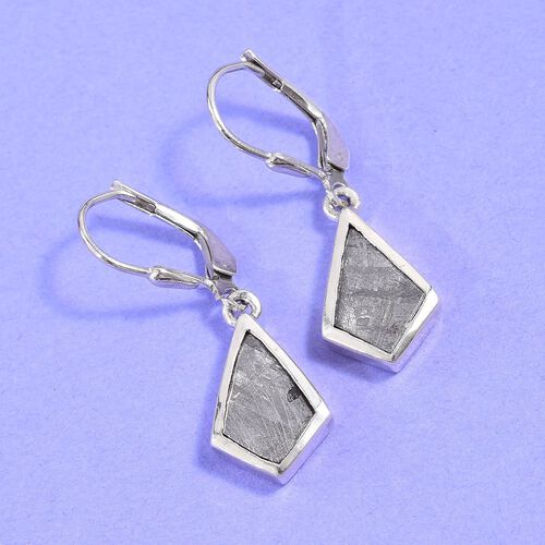 Tucson Special - Meteorite Drop Lever Back Earrings in Platinum Overlay Sterling Silver 5.50 Ct.