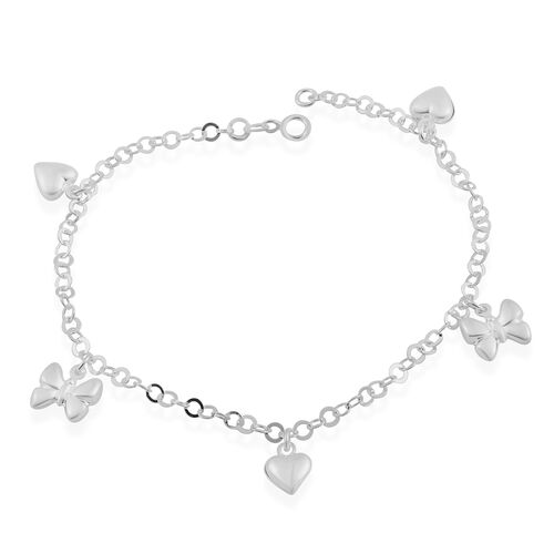 Sterling Silver Anklet (Size 10) with Heart and Butterfly Charm