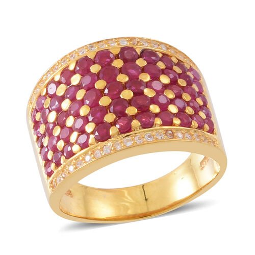 Burmese Ruby (Rnd), Natural White Cambodian Zircon Ring in 14K Gold Overlay Sterling Silver 3.750 Ct. Silver wt. 9.20 Gms.