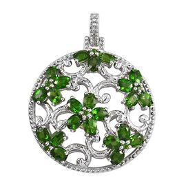 Russian Diopside (Ovl 4x3 mm) Floral Disc Pendant in Platinum Overlay Sterling Silver 5.00 Ct. Silve