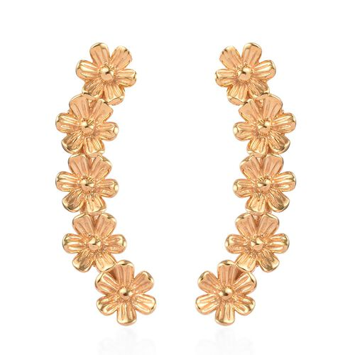 14K Yellow Gold Overlay Sterling Silver Floral Earrings (with Push Back)