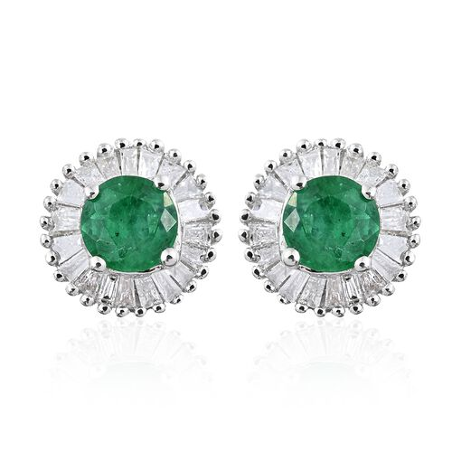 9K White Gold Premium Santa Terezinha Emerald (Rnd), Diamond Stud Earrings (with Push Back) 1.000 Ct.