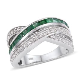 2 Carat Kagem Zambian Emerald and Natural Cambodian Zircon Criss Cross Ring in Silver