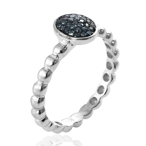 Blue Diamond (Rnd) Ring in Platinum Overlay with Blue Plating Sterling Silver 0.150 Ct.
