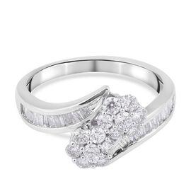 14K White Gold Diamond (I1-I2/ G-H) Bypass Ring 0.75 Ct.