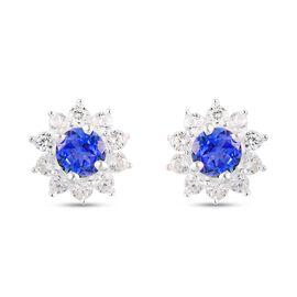 Tanzanite and Natural Cambodian Zircon Stud Earrings (with Push Back) in Platinum Overlay Sterling S