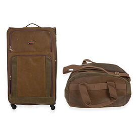 Faux Suede 2 Piece Luggage Set- (Extra (Large 88x49x32cm and Holdalls 28x38x22cm)