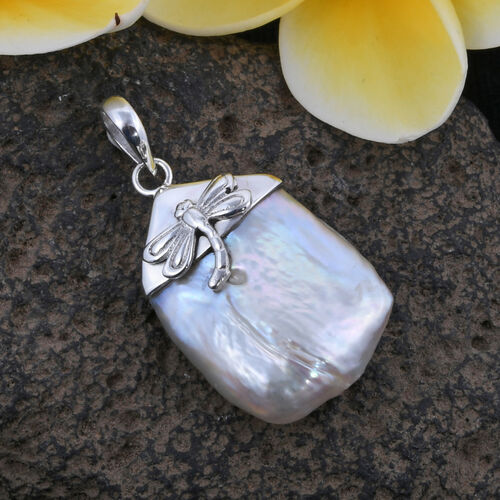 Royal Bali Collection Freshwater Pearl Dragonfly Pendant in Sterling Silver