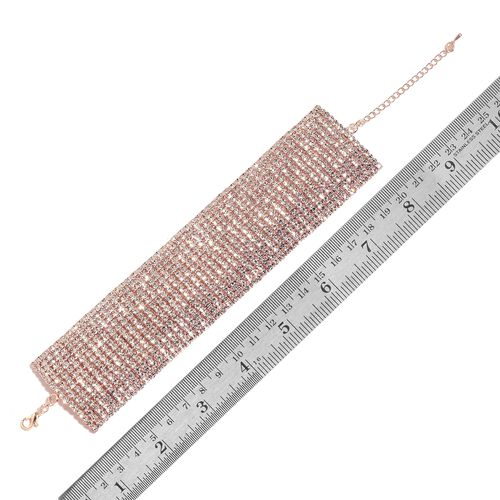AAA White Austrian Crystal Bracelet (Size 7.5 with 2 inch Extender) in Rose Gold Tone