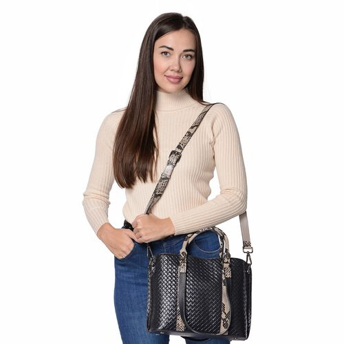 100% Genuine Leather Quilted Pattern Tote Bag with Detachable Shoulder Strap (Size 29x11x24 Cm) - Black