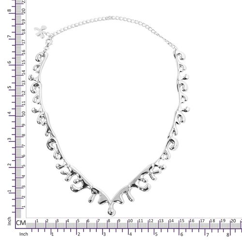 TJC Launch- LucyQ Sea Wave Necklace (Size 14 and 6 inch Extender) in Rhodium Overlay Sterling Silver, Silver wt 40.40 Gms.