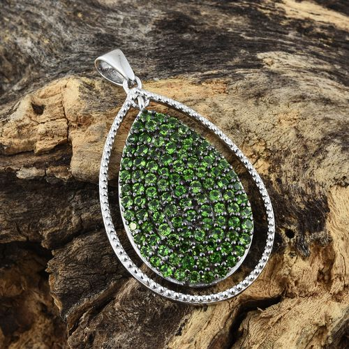 Limited Edition - Designer Inspired Russian Diopside (Rnd) Drop Pendant in Platinum Overlay Sterling Silver 2.500 Ct. Silver wt 6.06 Gms.
