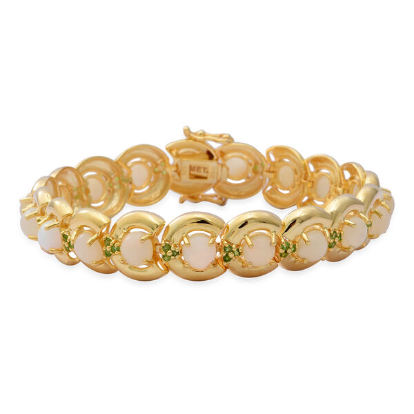 Ethiopian Welo Opal and Russian Diopside Bracelet (Size 8) in Yellow Gold Overlay Sterling Silver 11.29 Ct, Silver wt. 25.62 Gms