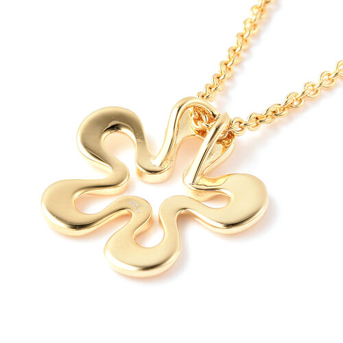 RACHEL GALLEY Sandblast Collection - Yellow Gold Overlay Sterling Silver Floral Design Pendant With Chain (Size 30), Silver wt. 10.27 Gms