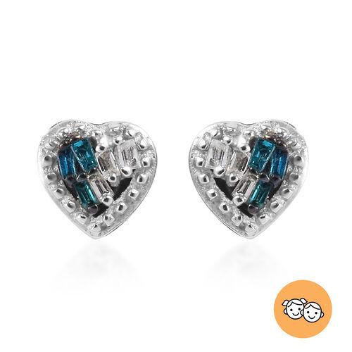 Children Blue and White Diamond Heart Earrings in Sterling Silver