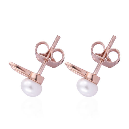 Freshwater Pearl Bunny Stud Earrings (with Push Back) in Rose Gold Overlay Sterling Silver