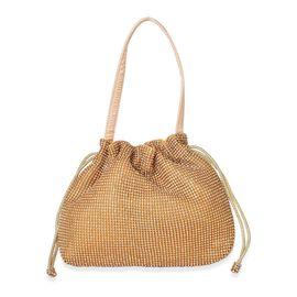 PREMIER COLLECTION - White Austrian Crystals Embellished Luxurious Golden Handbag (Size 23X19.5X4 Cm)