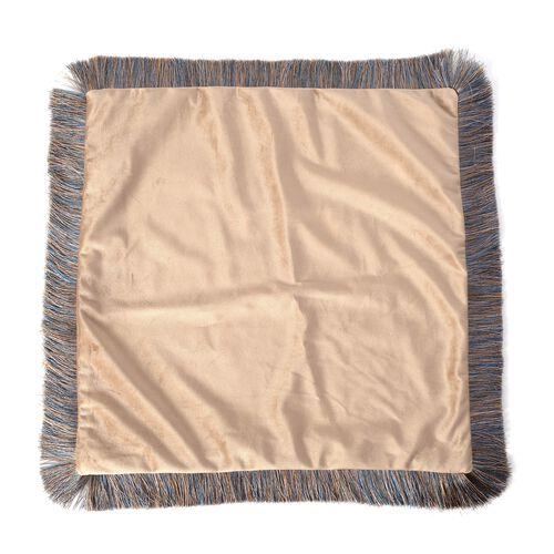 Luxury Edition - 2 Piece Set Extremely Soft Decorative Cushion Covers with Trimming in Tan Colour (Size 45x45 Cm)