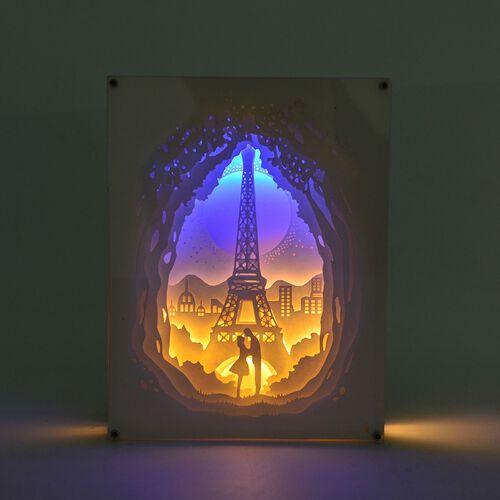 (Option 1) Home Decor - Fairy Tale Lighting with Paper Cut 3D Eiffel Tower Motif (Size 20.8x15.8x4.2 Cm)