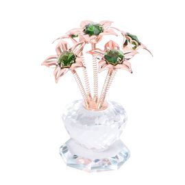 Crystal Flower Table Decor (Size 6x11.5 Cm) - Rose Gold and Green Colour