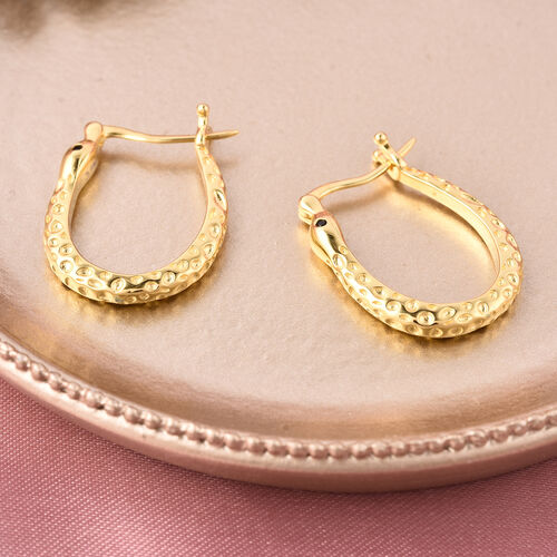 RACHEL GALLEY - Boi Ploi Black Spinel Hoop Earrings (with Clasp) in Yellow Gold Overlay Sterling Silver