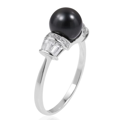 One Time Deal-Tahitian Pearl (Rnd 8-9 mm), White Topaz Ring in Rhodium Overlay Sterling Silver