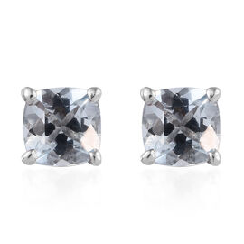 Espirito Santo Aquamarine (Cush) Stud Earrings (with Push Back) in Platinum Overlay Sterling Silver