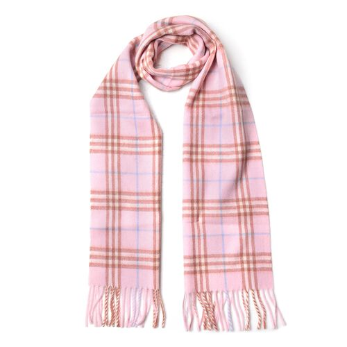 100% Wool Light Pink, Brown and Blue Colour Checker Pattern Scarf with Tassels (Size 180X30 Cm)
