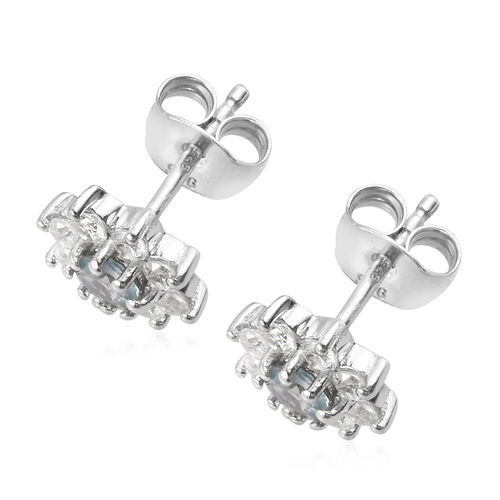Narsipatnam Alexandrite and Natural Cambodian Zircon Stud Earrings (with Push Back) in Platinum Overlay Sterling Silver 1.25 Ct.