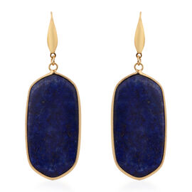Lapis Lazuli Hook Earrings in Yellow Gold Tone 85.00 Ct.