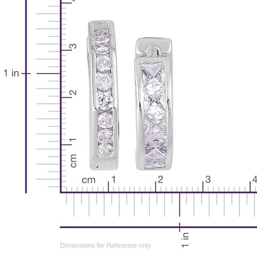Set of 2 - AAA Simulated White Diamond Octagon and Round Hoop Earrings (with Clasp) Silver Plated