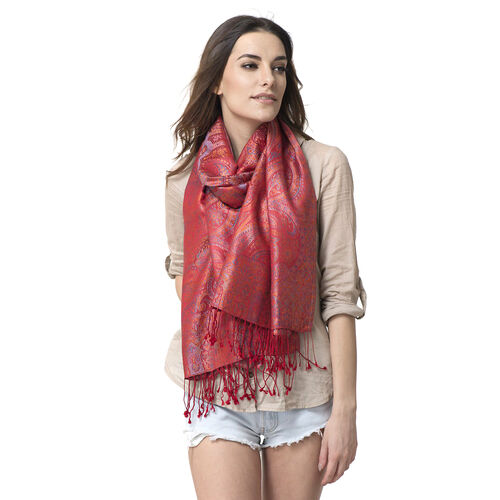 100 % Superfine Silk Pink and Multi Colour Jacquard Jamwar Shawl with Paisley Motifs and Fringes (Si